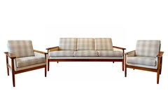 Mid-Century Modern Sofa Set 3 Seat and 2 Lounge Club Chairs Attr. to Knut Saete
