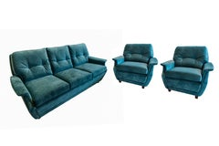 Mid-Century Modern Sofa Set 3 Seat and 2 Lounge Club Chairs by De Sede, 1970s