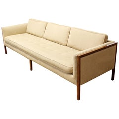 Mid-Century Modern Sofa Wood Framed Probber Knoll Attributed 1960s