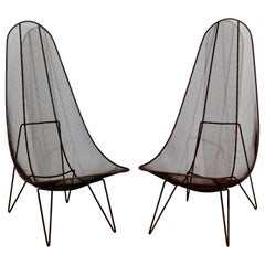 Mid-Century Modern Sol Bloom Pair of Black Iron Scoop Outdoor Patio Chairs 1950s