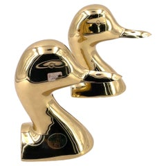 Mid-Century Modern Solid Brass Duck Bookends