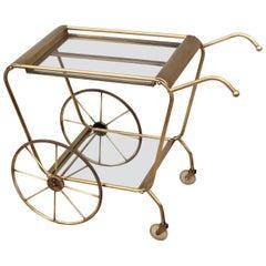 Mid-Century Modern Solid Brass Italian Bar Cart
