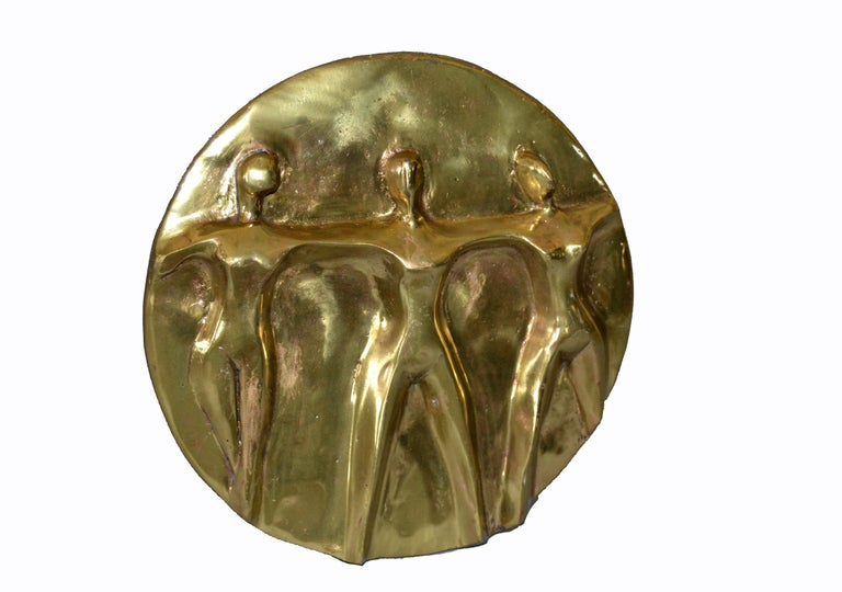 Mid-Century Modern solid bronze handcrafted table Art, sculpture showing 'Woman United'.