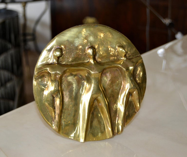 Mid-Century Modern Solid Bronze Hand-crafted Table Art, Sculpture 'Women United' In Good Condition For Sale In Miami, FL