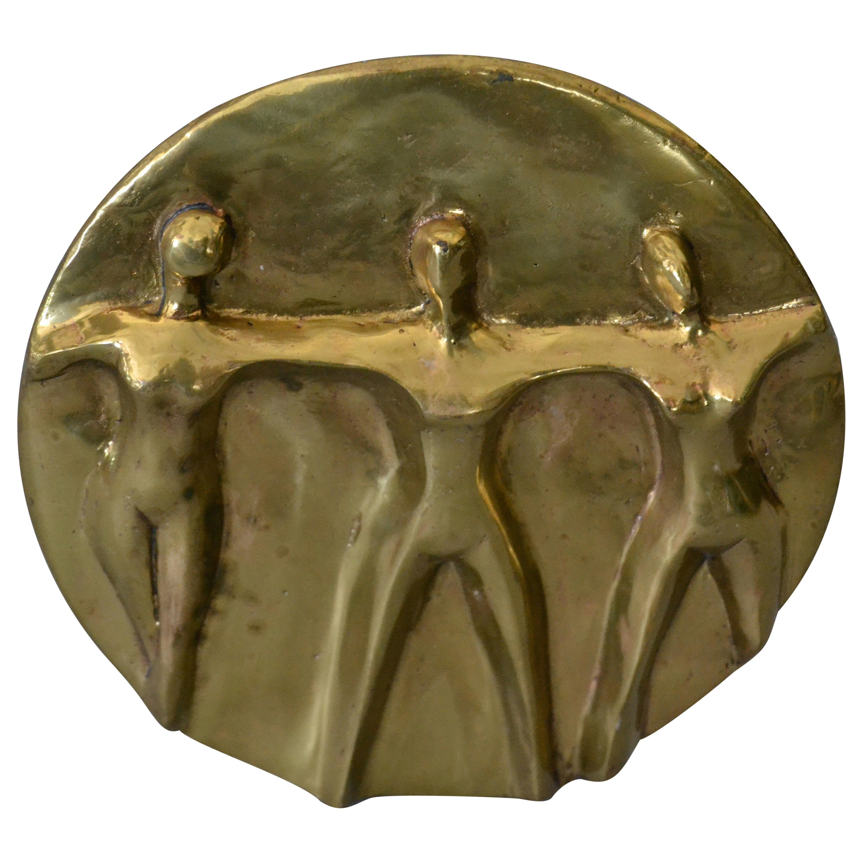 Mid-Century Modern Solid Bronze Hand-crafted Table Art, Sculpture 'Women United'