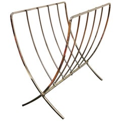 Mid-Century Modern Solid Chrome Folding Magazine Rack