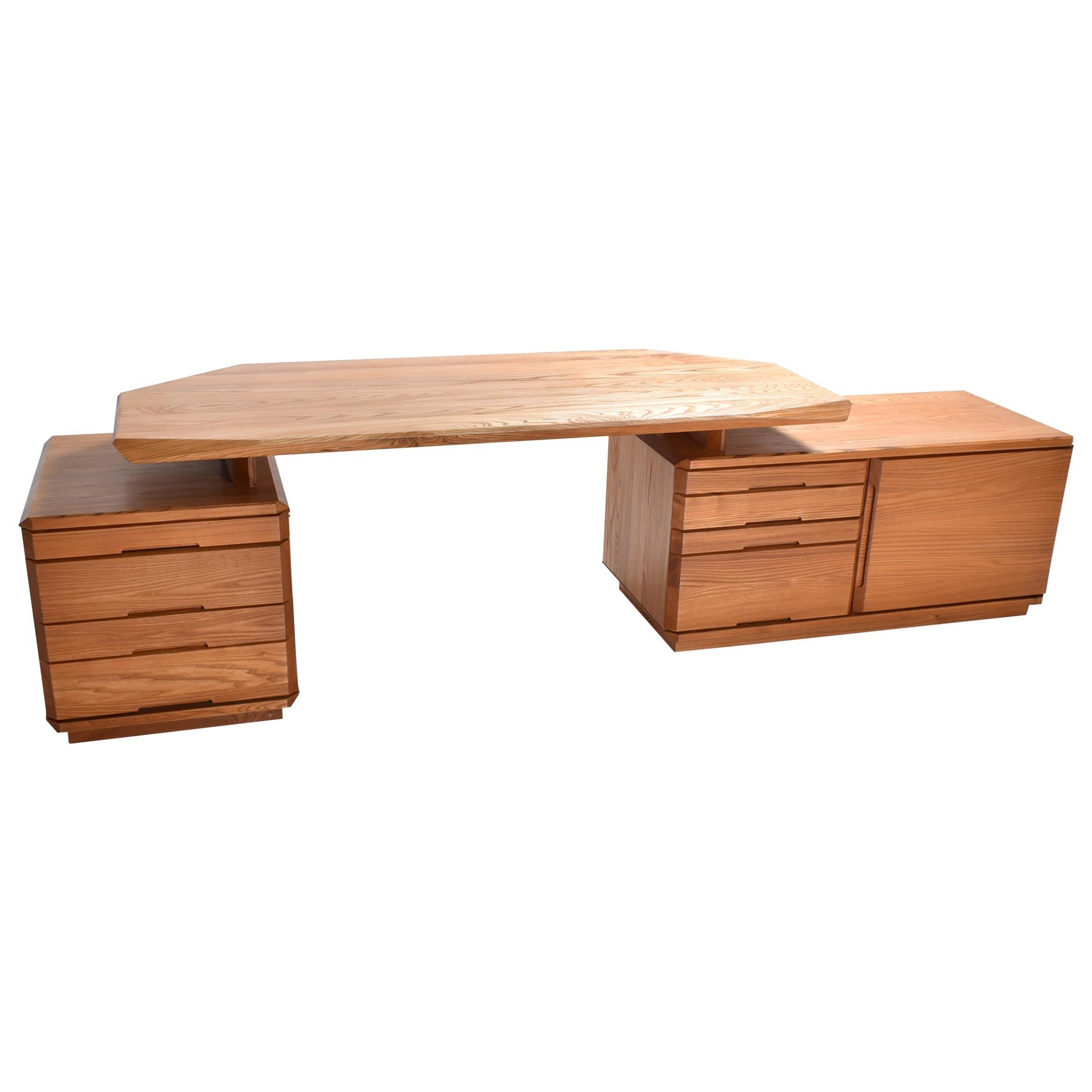 Mid-Century Modern Solid Elm Desk B 40 by Pierre Chapo, France, 1980