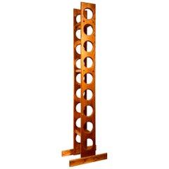 Mid-Century Modern Solid Oak Tall Free Standing Wine Rack 9 Bottle Capacity