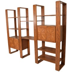 Mid-Century Modern Solid Oak Wood Wall Unit by Lou Hodges