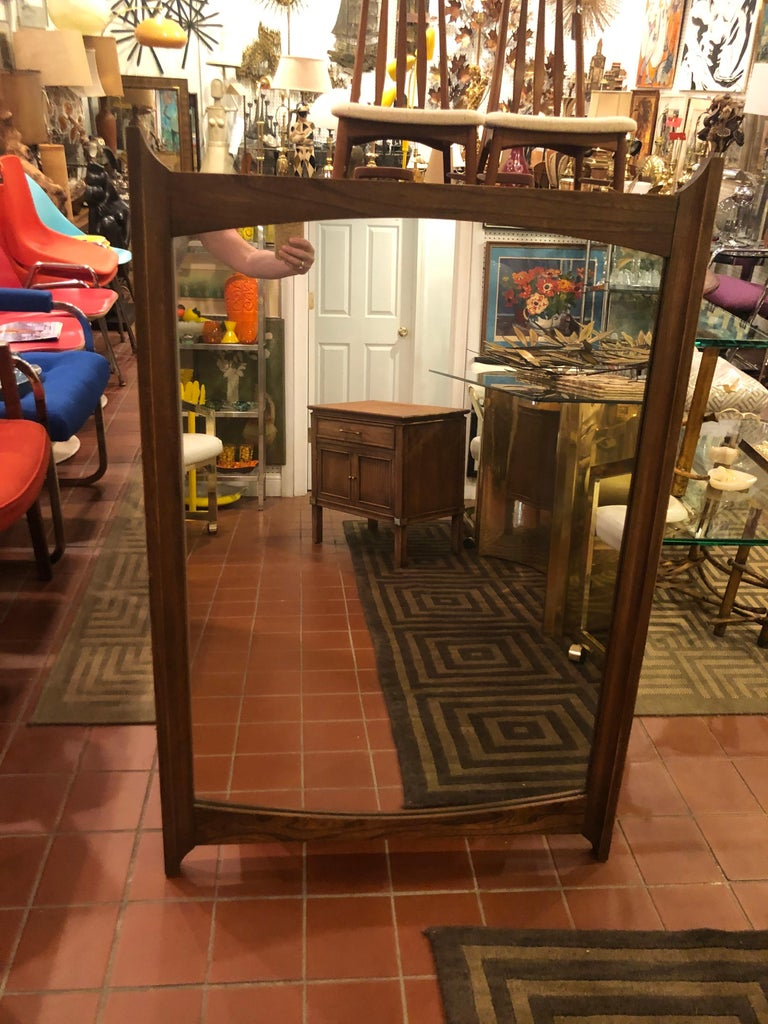 Mid-Century Modern Solid Walnut Mirror For Sale 1