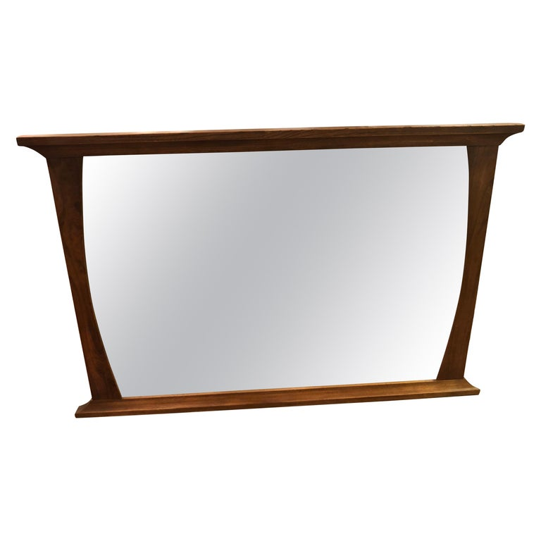 Mid-Century Modern Solid Walnut Mirror For Sale