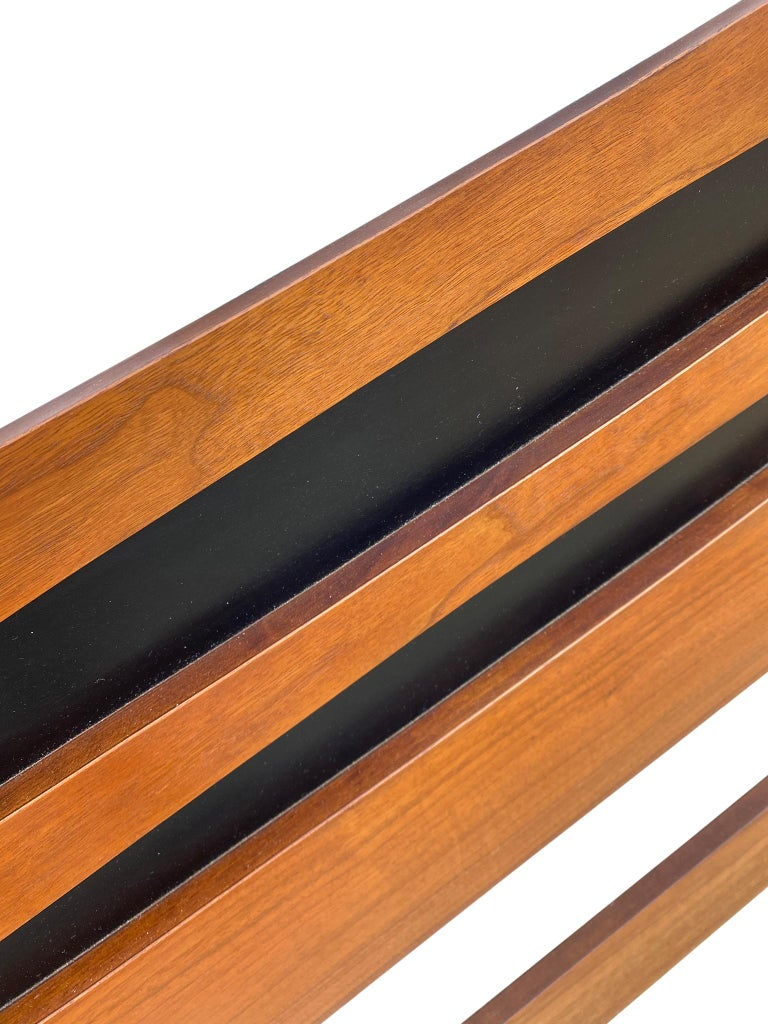 American Mid-Century Modern Solid Walnut Queen Bed Headboard Style of Arne Vodder For Sale