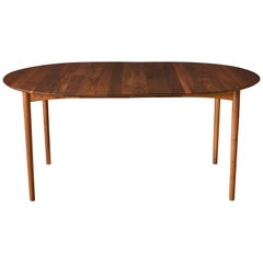 Mid-Century Modern Solid Walnut Round Extension Dining Table