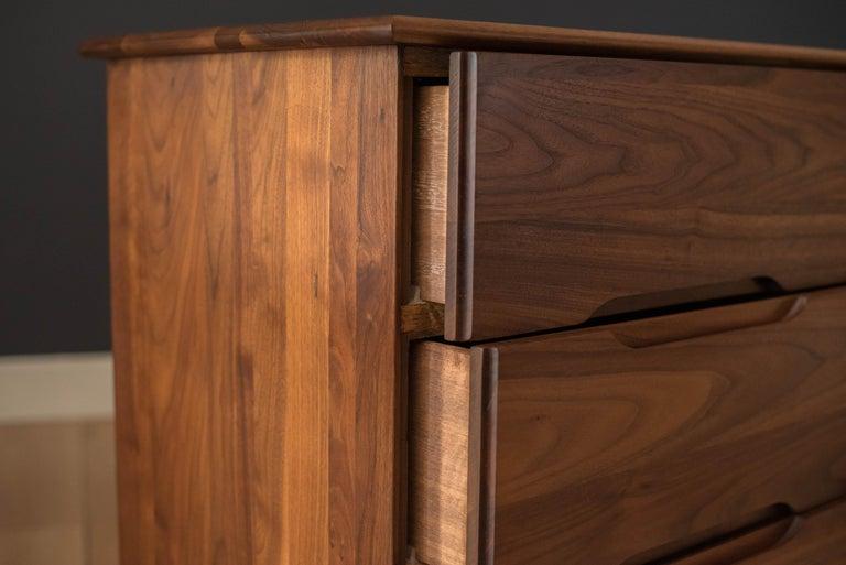 Mid-Century Modern Solid Walnut Triple Dresser 7