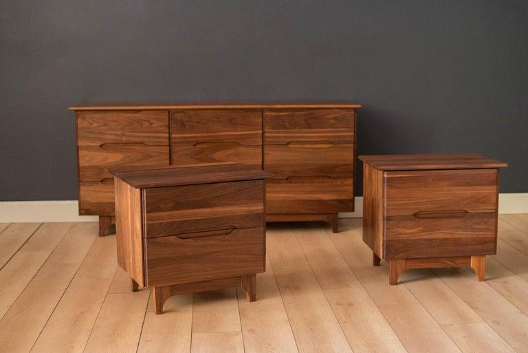 North American Mid-Century Modern Solid Walnut Triple Dresser