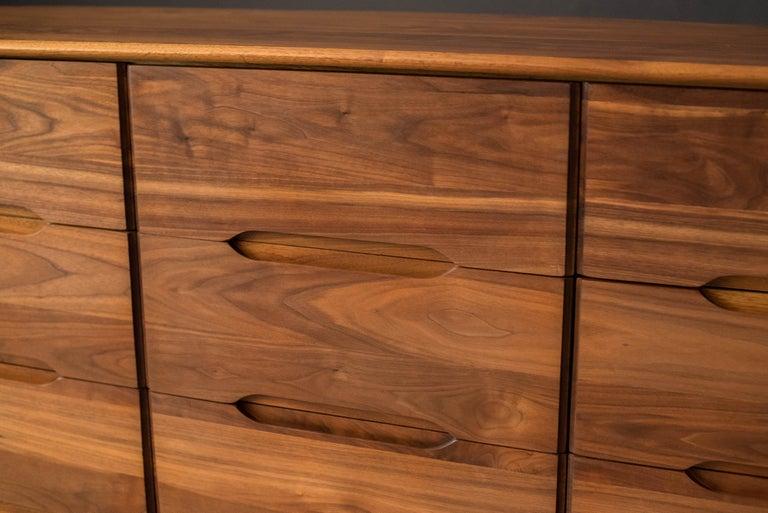 Mid-Century Modern Solid Walnut Triple Dresser In Good Condition In San Jose, CA