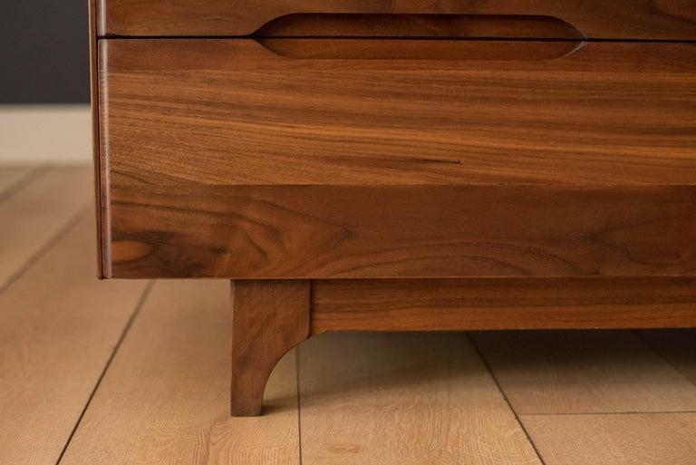 Mid-Century Modern Solid Walnut Triple Dresser 2