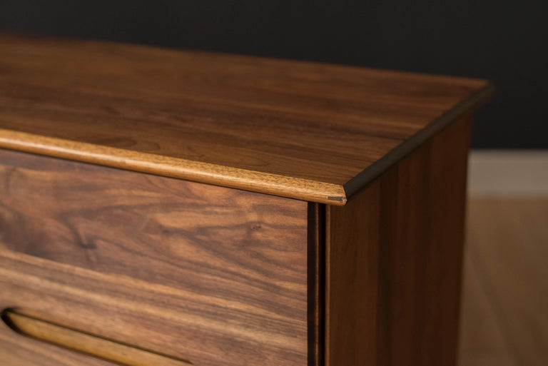 Mid-Century Modern Solid Walnut Triple Dresser 4
