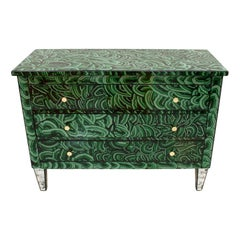 Mid-Century Modern Solid Wood and Colored Glass Italian Chest
