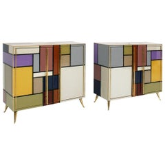 Mid-Century Modern Solid Wood and Colored Glass Italian Pair of Sideboards