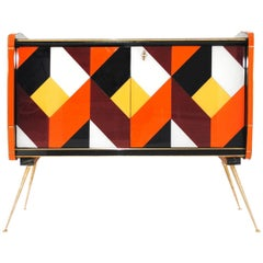 Mid-Century Modern Solid Wood and Colored Glass Pair of Italian Sideboards