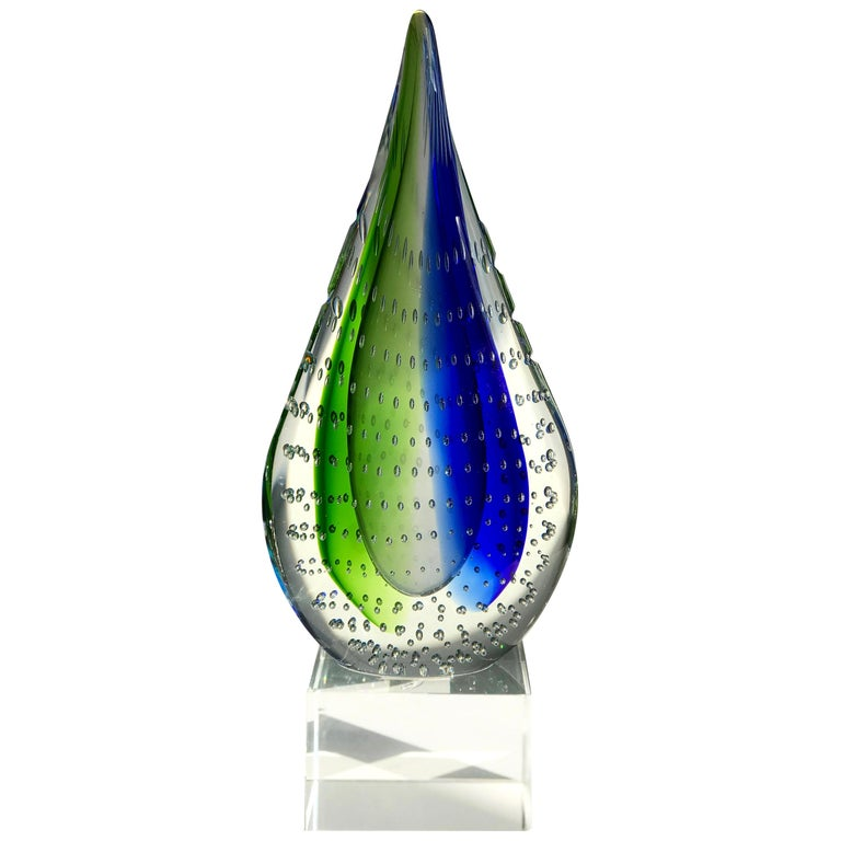 Mid-Century Modern Sommerso Glass Teardrop Sculpture, Italy, c. 1980s For Sale