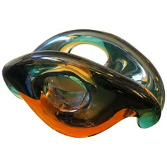 Mid-Century Modern Sommerso Murano Glass Bowl by Archimede Seguso, circa 1970