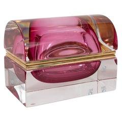 Mid-Century Modern Sommerso Murano Glass Dome Top Box by Alessandro Mandruzzato