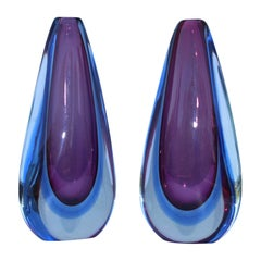 Mid-Century Modern Sommerso Murano Vases by Oball
