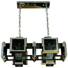 Mid-Century Modern Sonneman Smoked Glass Chrome Pendant Chandelier Fixture 1970s