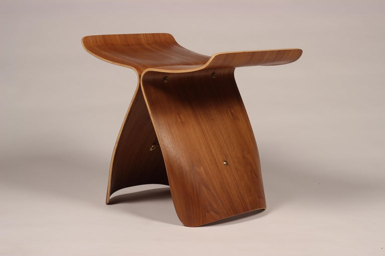 Japanese Mid-Century Modern Sori Yanagi Butterfly Stool in Walnut and Plywood