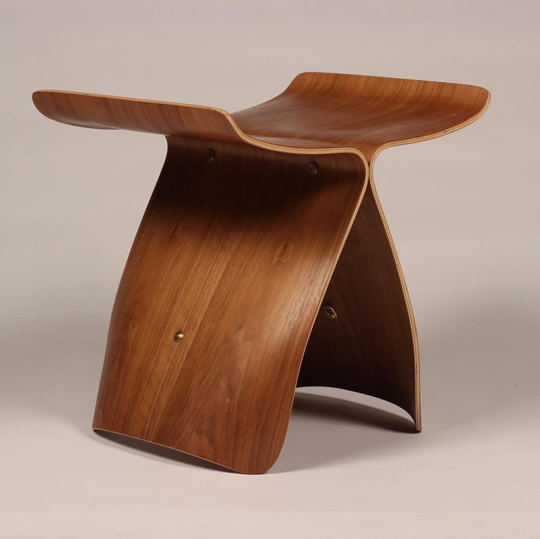 Brass Mid-Century Modern Sori Yanagi Butterfly Stool in Walnut and Plywood