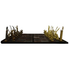 Mid-Century Modern South African Hand Made Brass and Leather Chess Set