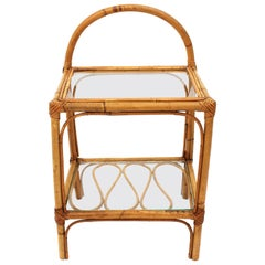 Bamboo and Rattan Spanish Modern Bedside End Table Stand with Glass Top
