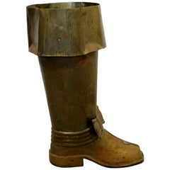 Mid-Century Modern Spanish Brass Boot Floor Sculpture Umbrella Stand, 1960s