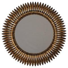 Mid-Century Modern Spanish Gilt Sunburst Mirror, 1950's