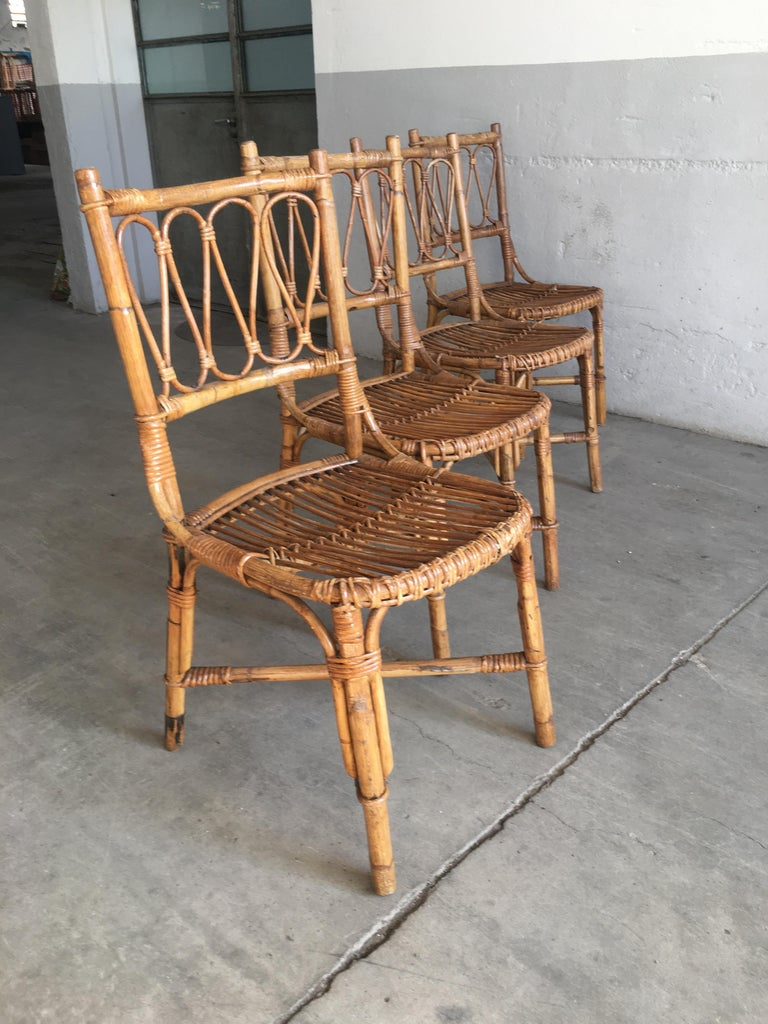 Mid-Century Modern Spanish Set of 4 Bamboo Dining Chairs, 1970s 1