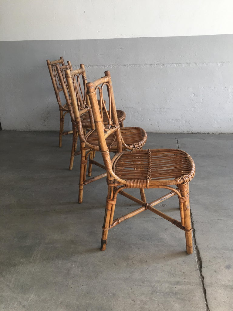 Mid-Century Modern Spanish Set of 4 Bamboo Dining Chairs, 1970s 2