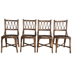 Mid-Century Modern Spanish Set of 4 Bamboo Dining Chairs, 1970s