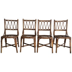 Mid-Century Modern Spanish Set of Four Bamboo Dining Chairs, 1970s