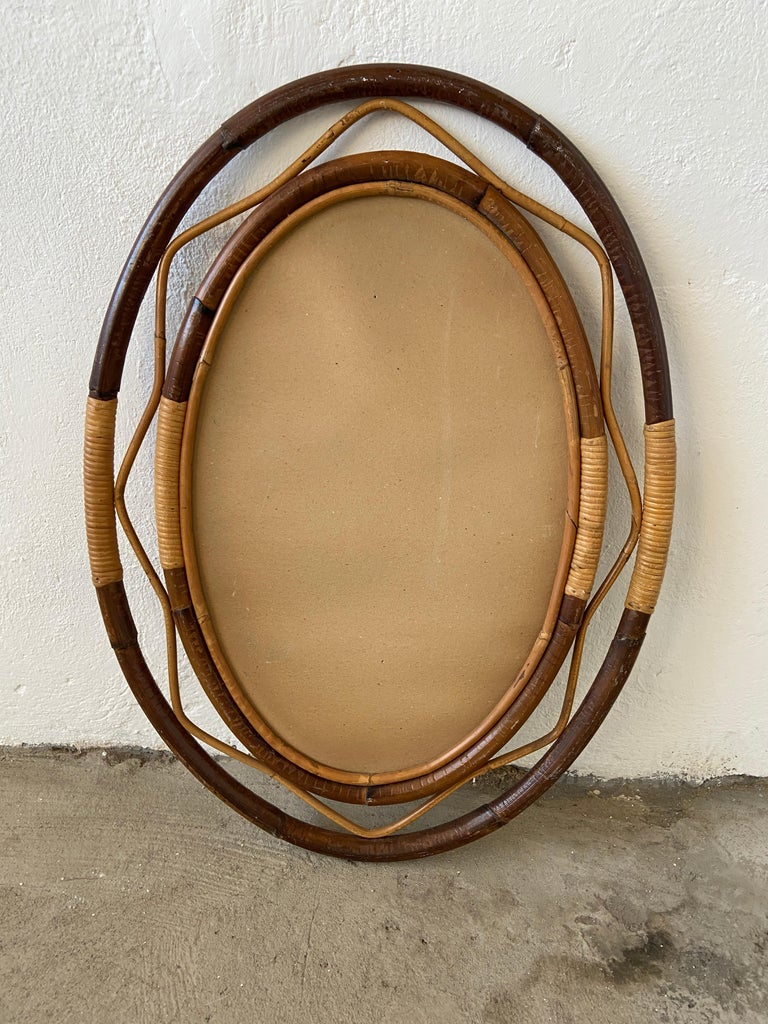 Mid-Century Modern Spanish Wicker and Cane Oval Wall Mirror, 1960s For Sale 7