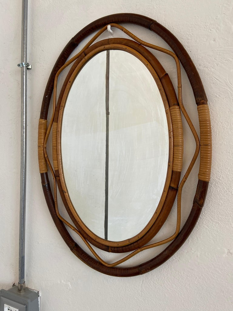 Mid-20th Century Mid-Century Modern Spanish Wicker and Cane Oval Wall Mirror, 1960s For Sale
