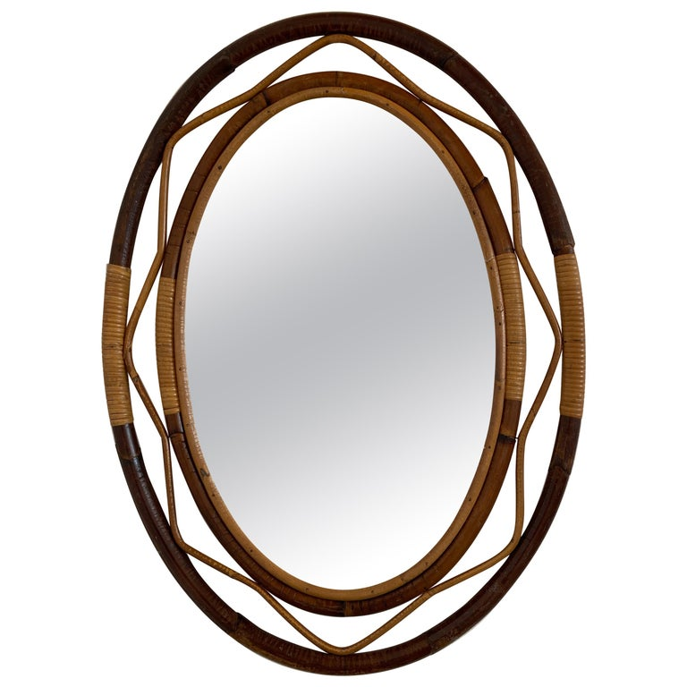 Mid-Century Modern Spanish Wicker and Cane Oval Wall Mirror, 1960s For Sale