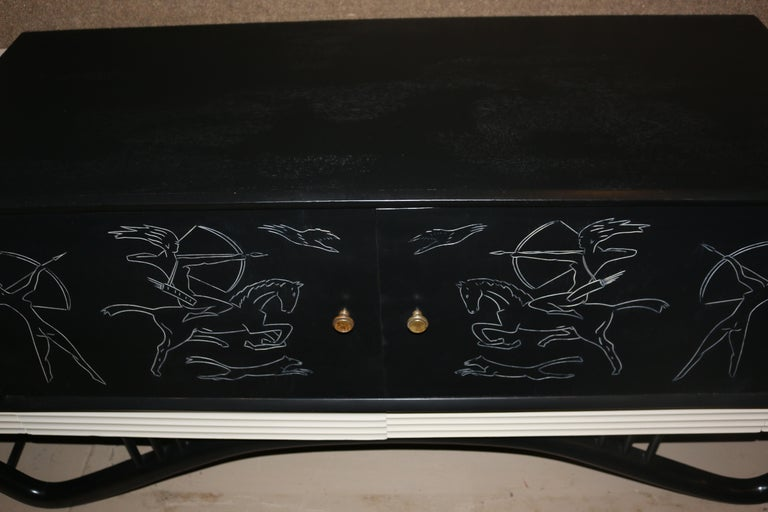 Wood Mid-Century Modern Spectacular Giseppe Scapinelli Credenza Buffet For Sale