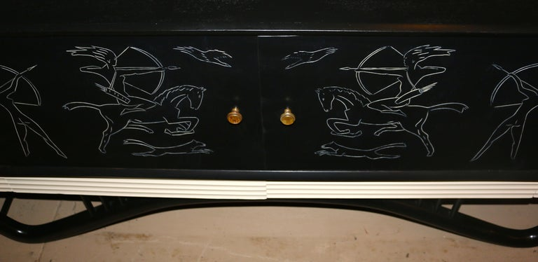 Mid-Century Modern Spectacular Giseppe Scapinelli Credenza Buffet For Sale 1