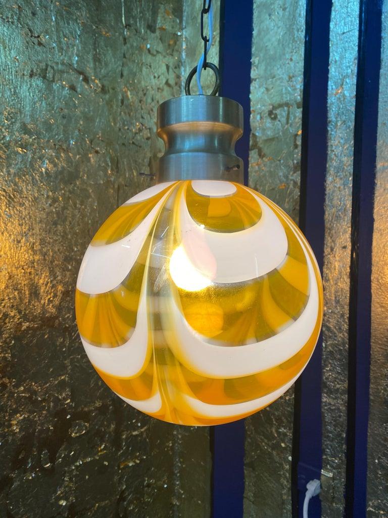Mid-Century Modern Sphere Chandelier in Murano Swirl Glass by Venini, circa 1970 For Sale 10