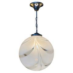 Mid-Century Modern Sphere Chandelier in Murano Swirl Glass by Venini, circa 1970