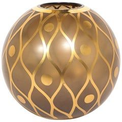 Mid-Century Modern Spherical Smoked Glass Vase with Curvilinear Gilded Detailing