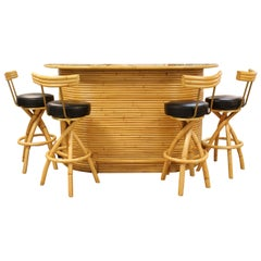 Mid-Century Modern Split Reed Bamboo Bar & 4 Barstools