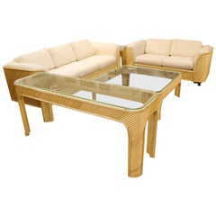 Mid-Century Modern Split Reed Bamboo Set Sofa Loveseat Coffee Console Side Table